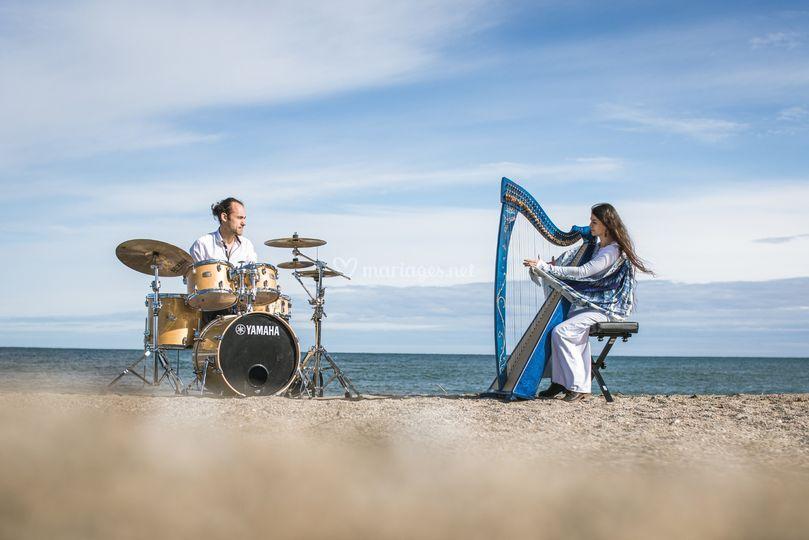 Duo- Batterie - harpe celtique