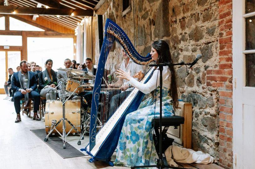 Duo harpe batterie