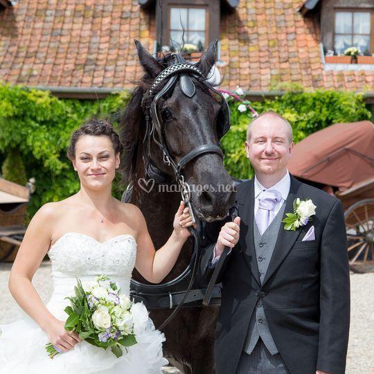 Calèche campagne mariage