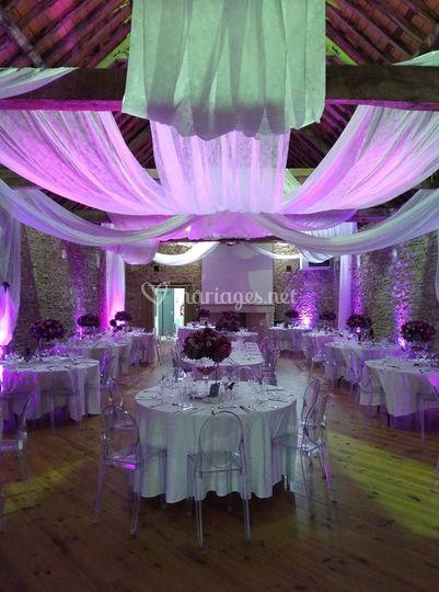 Préparation décoration salle de mariage