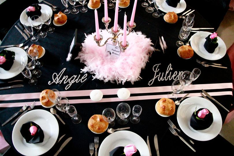 Mariage rose et noir cabaret