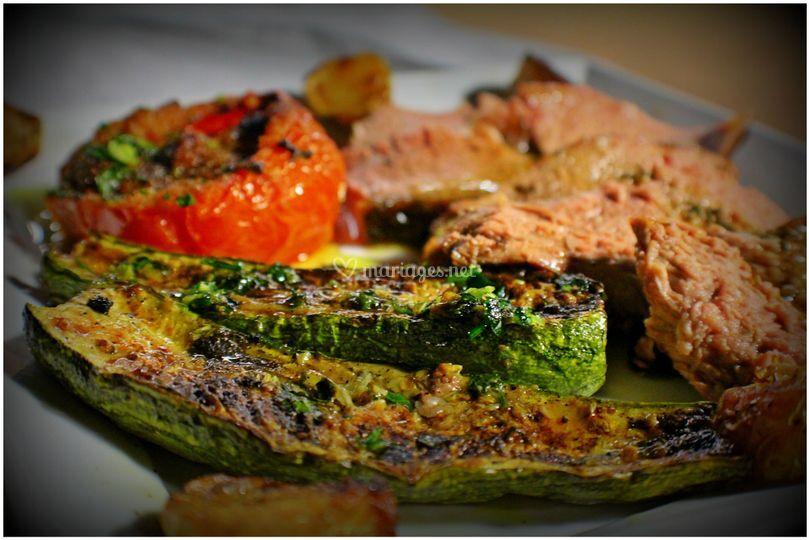 Veau à la broche et legumes