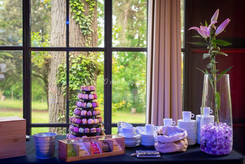Buffet de café et macarons