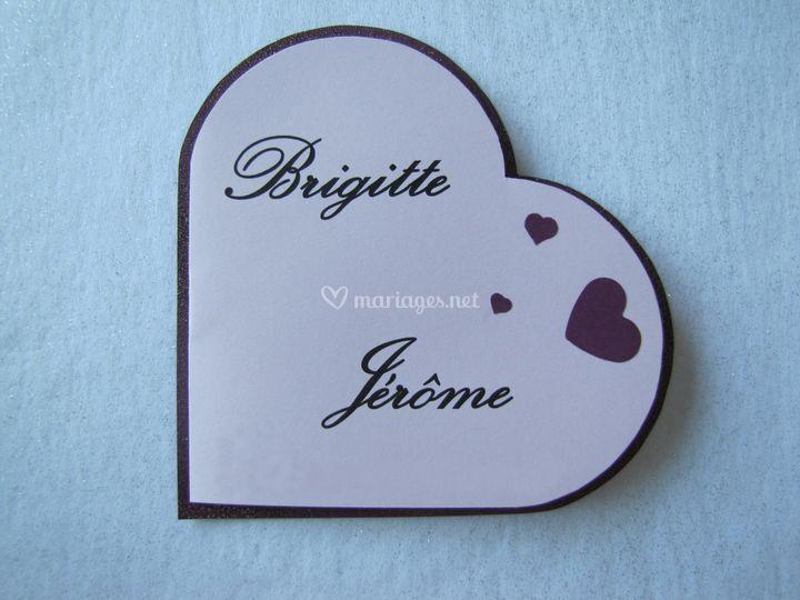 Faire-part coeur violet