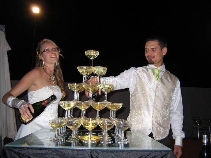 Fontaine à champagne sur la terasse