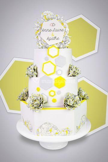 Cake Révol - mariage Hexagones