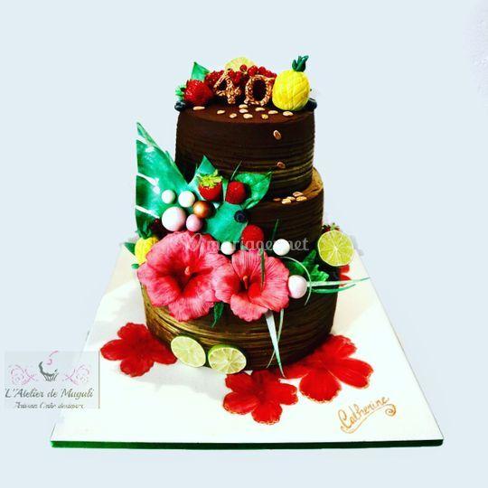 Chocolat et fleurs en sucre