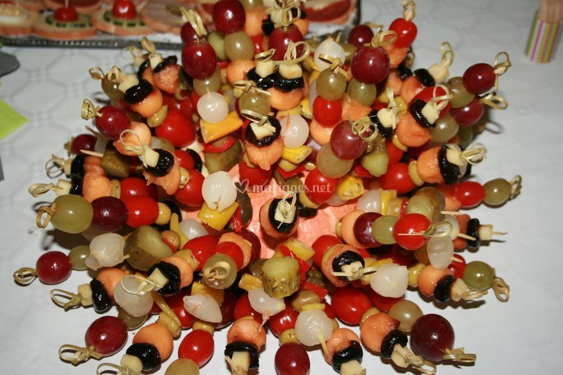 La rose des vents - Presentation de brochette de fruits ...