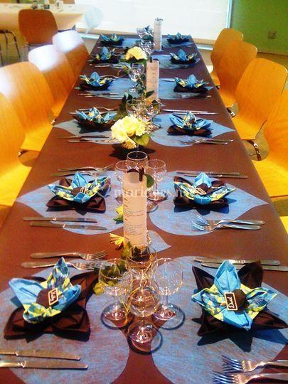 Déco de table choco-turquoise