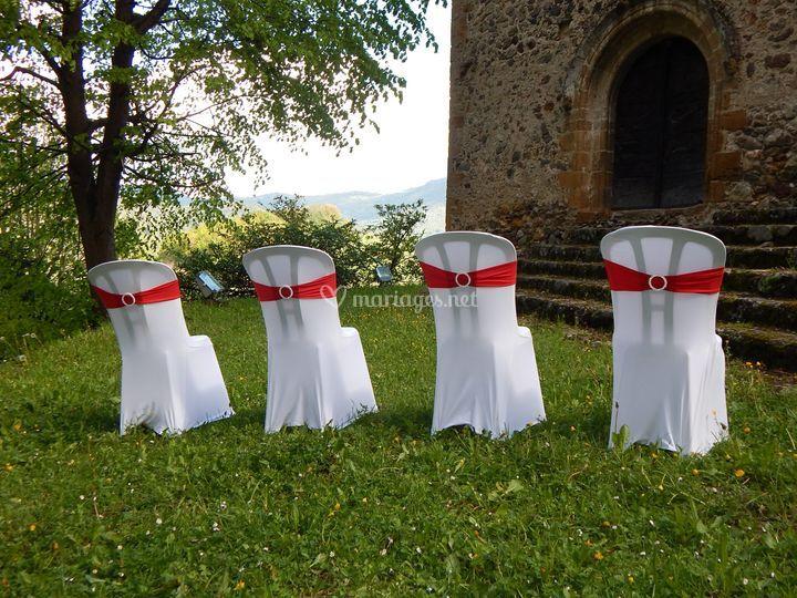 Bandeau de chaises rouge