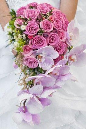 Bouquet cascade avec orchidée