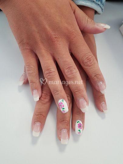 French et fleurs rose