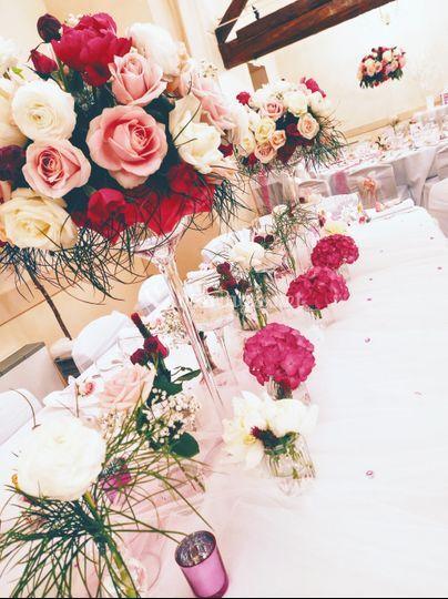 Table d'honneur très fleuries