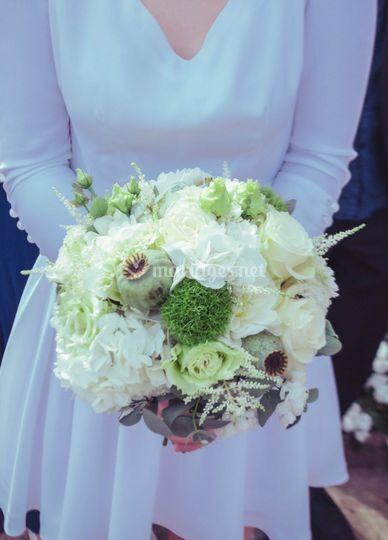 Bouquet de mariee blanc/vert