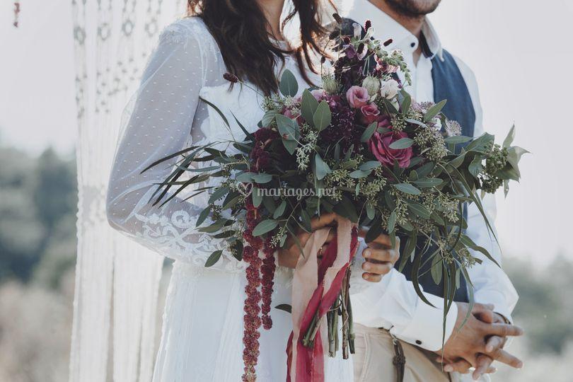 Bouquet de mariée bohème folk