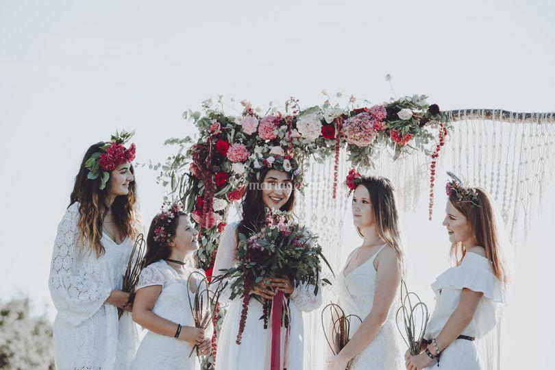 Fleurs mariage bohème
