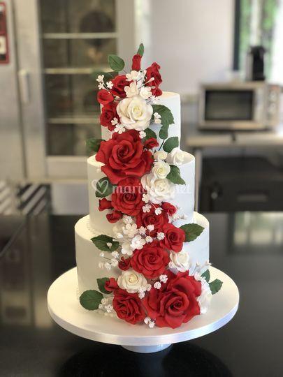 Wedding cake fleurs en sucre