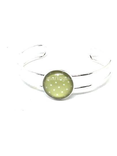 Bracelet jonc vert et blanc