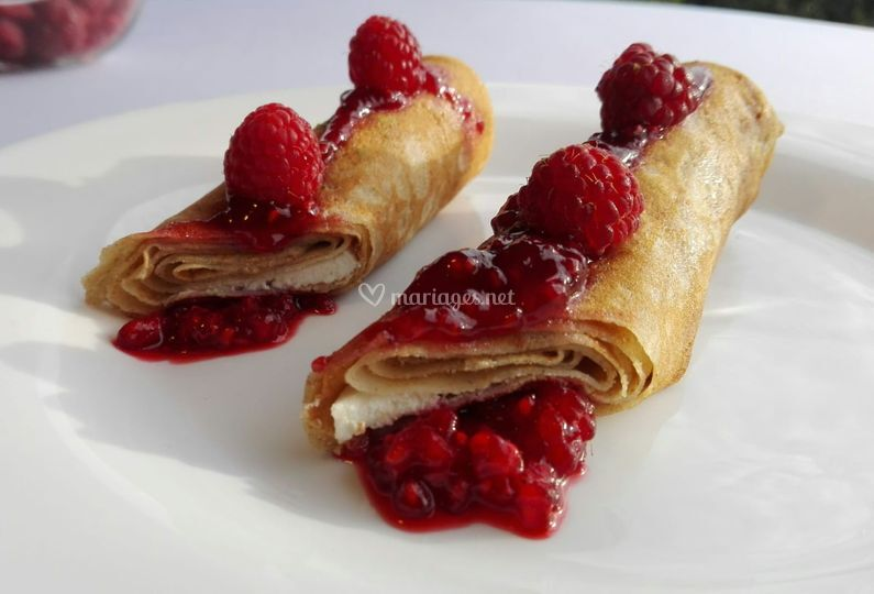 Crêpes fromage /framboise