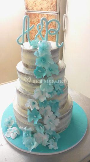 Naked cake thème polynésie
