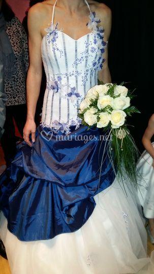 Bouquet de mariée rond de rose