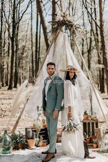 Shooting mariage bohème chic