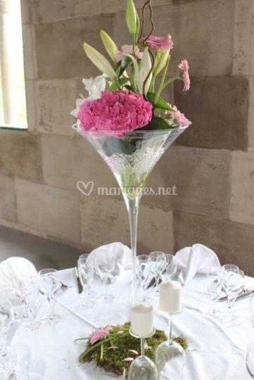 Vase martini déco florale