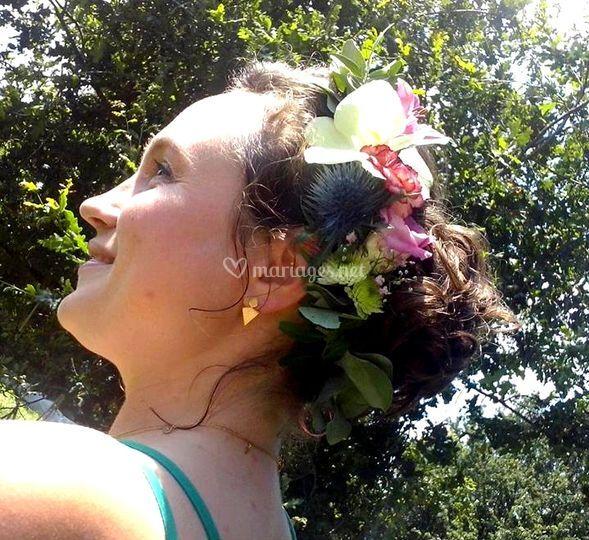 Semi couronne fleurie