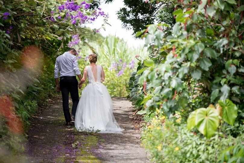 Photos couple, jardin exotique