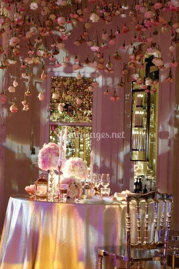 Centres de table fleurs rose