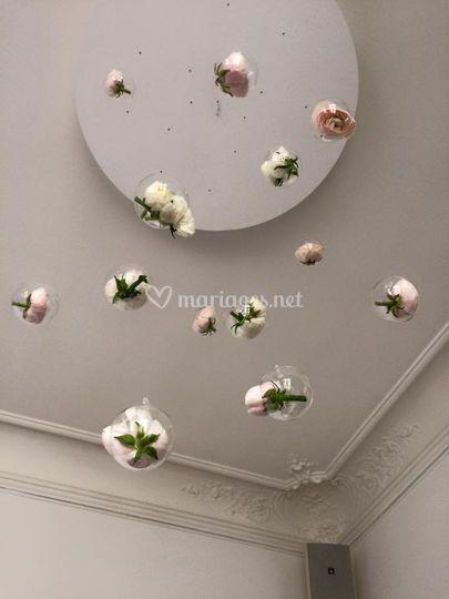 Verrines florales suspendues