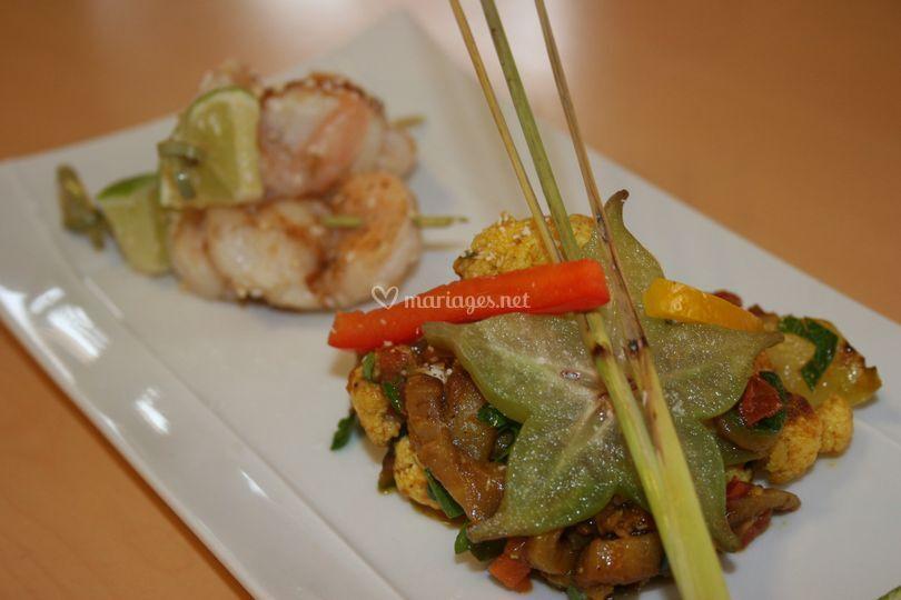 Scampis et légumes au curry