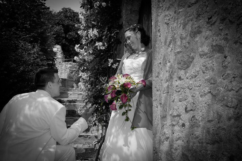 Bouquet couleur sur photo N&B