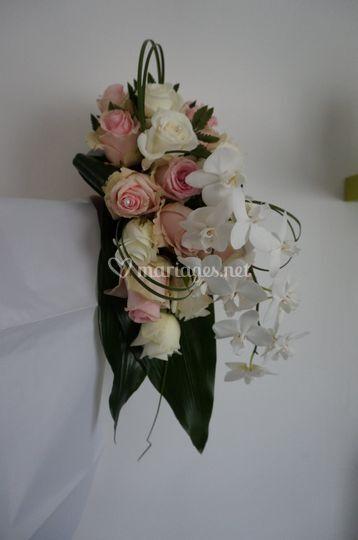 Bouquet cascade rose et blanc