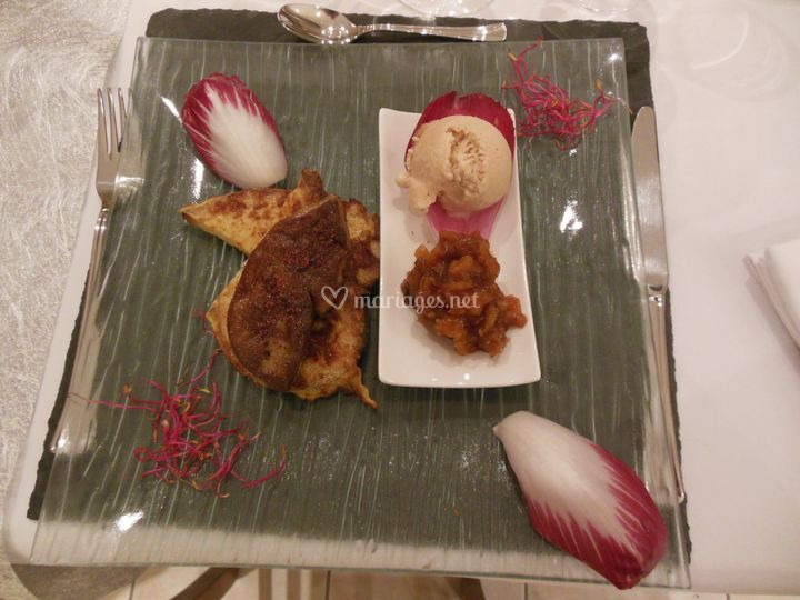 Foie gras poêlé, glace spéculos