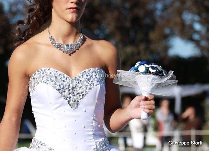 Bouquet boutons bleu et blanc