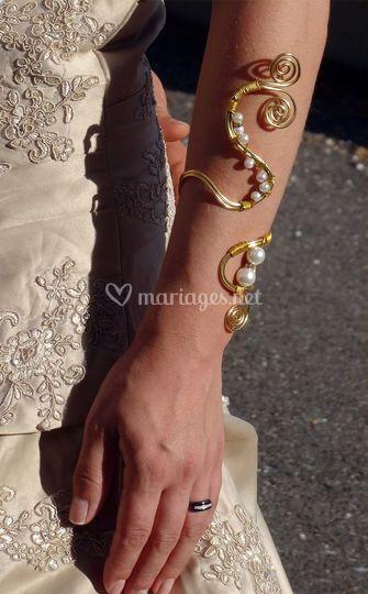 Bracelet de marié doré perlé