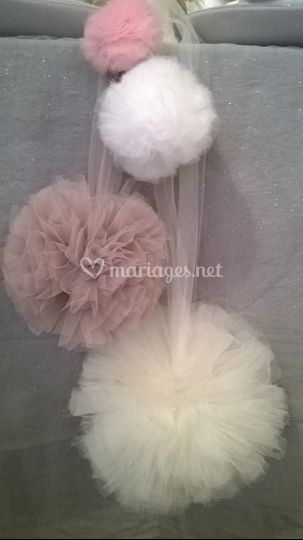 Dimensions pompons tulle