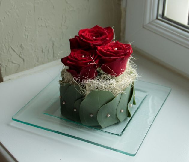 Centre de table roses rouge