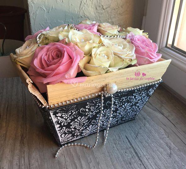 Centre de table rose crème