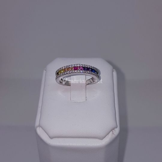Bague or gris saphir diamant