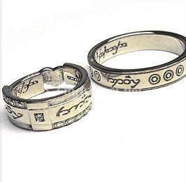 Alliance or blanc gravure elfique