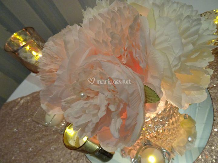 Mariage rose, or et cuivre