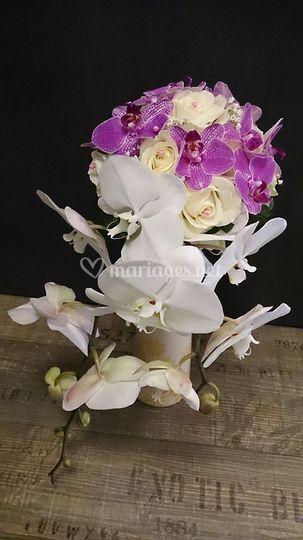 Bouquet retombant orchidée