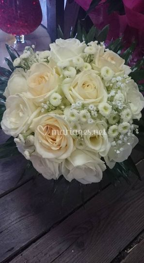 Bouquet rond blanc:or