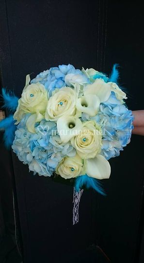 Bouquet rond turquoise