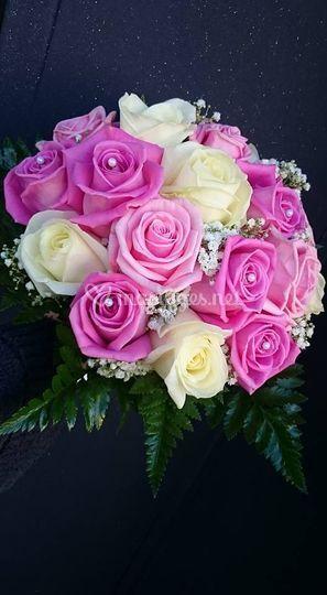 Bouquet rond camaïeu rose