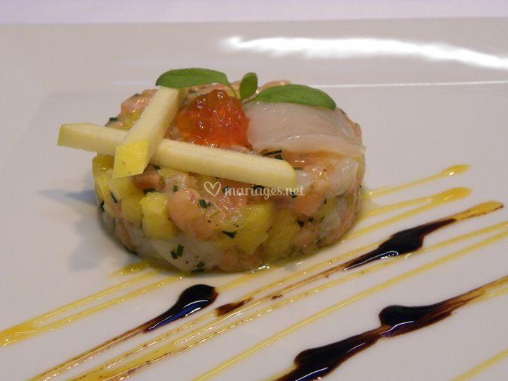 Saint-Jacques & saumon mangue