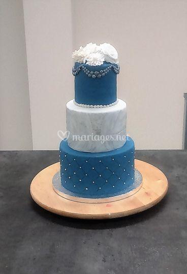 Mariage bleu et argent