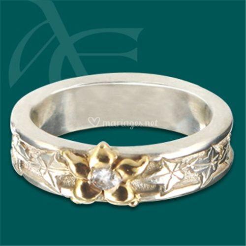 Bague Lierre - fleur or jaune et diamant